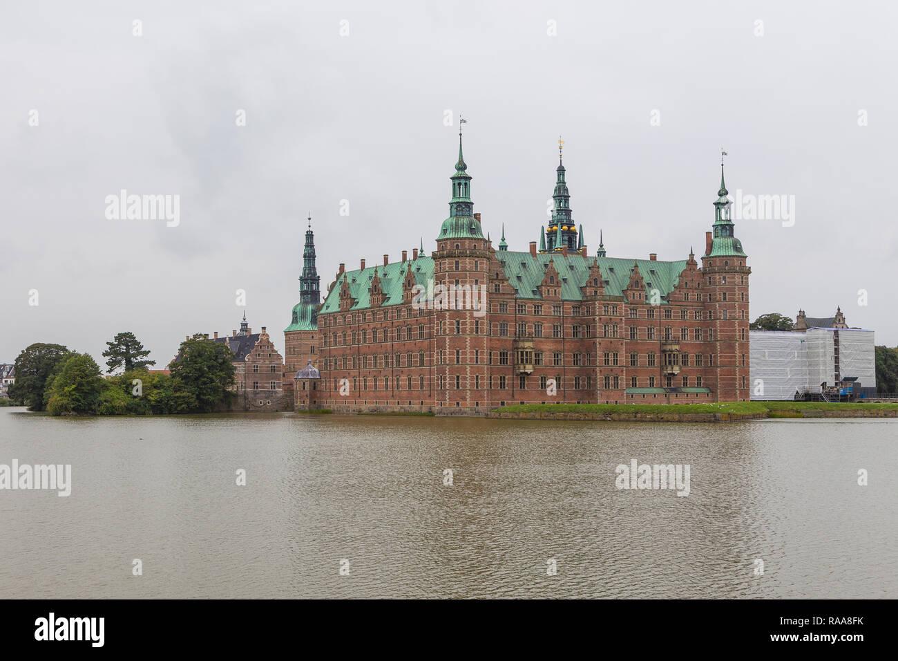 Frederiksborg, Hillerod, Denmark- 30 August 2014: Frederiksborg Palace, palatial complex in Hillerod. The largest Renaissance residence in Scandinavia - Stock Image