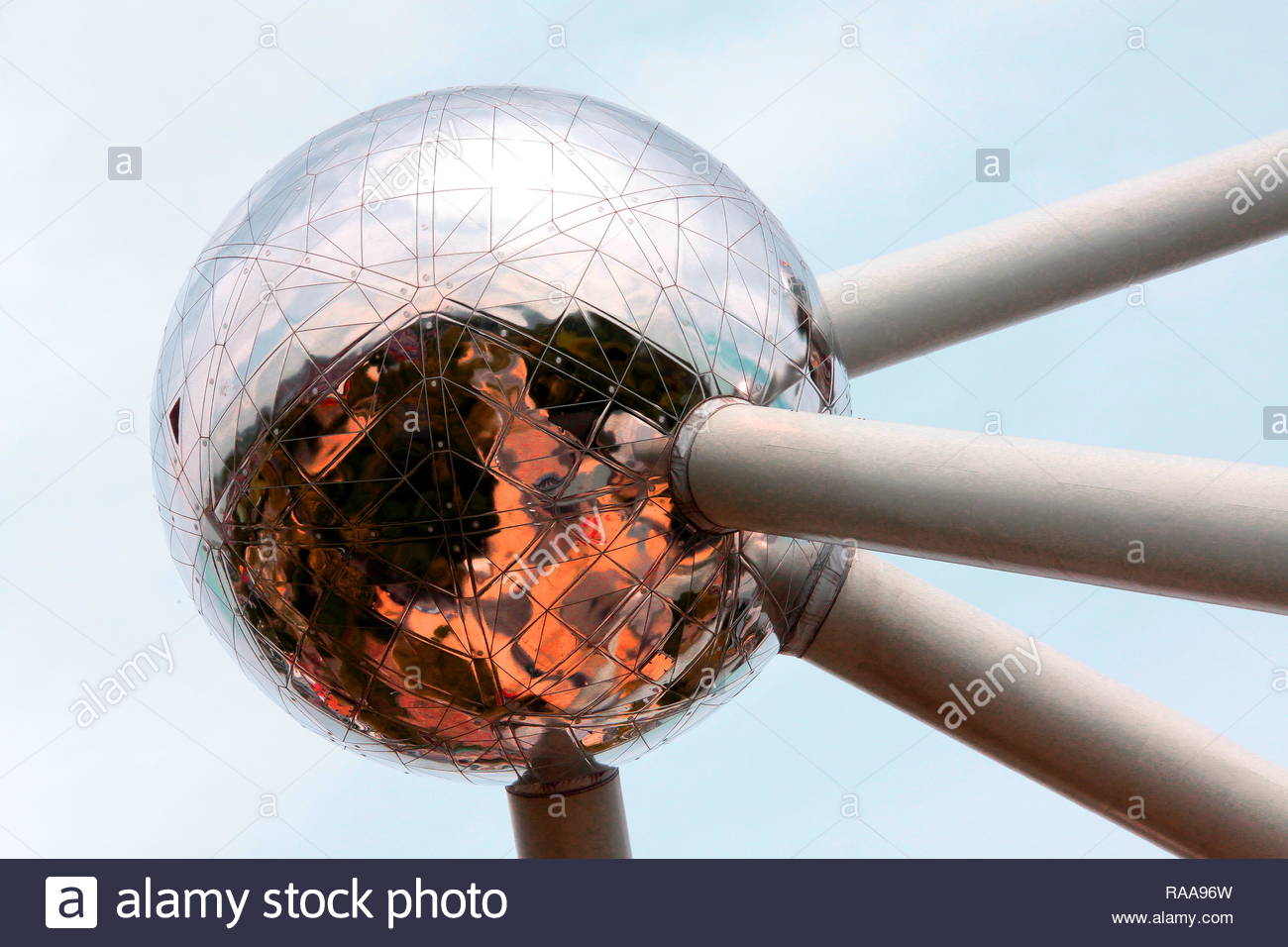 One sphere of the Atomium, Brussels - Stock Image