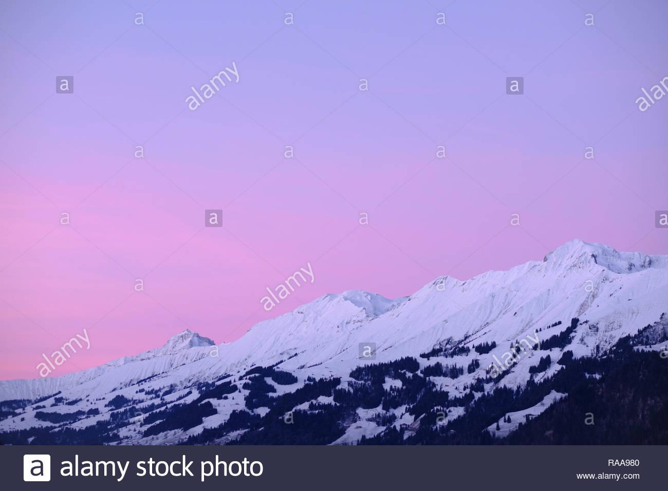 beautyfull sunset in kandertal, berner oberland - Stock Image