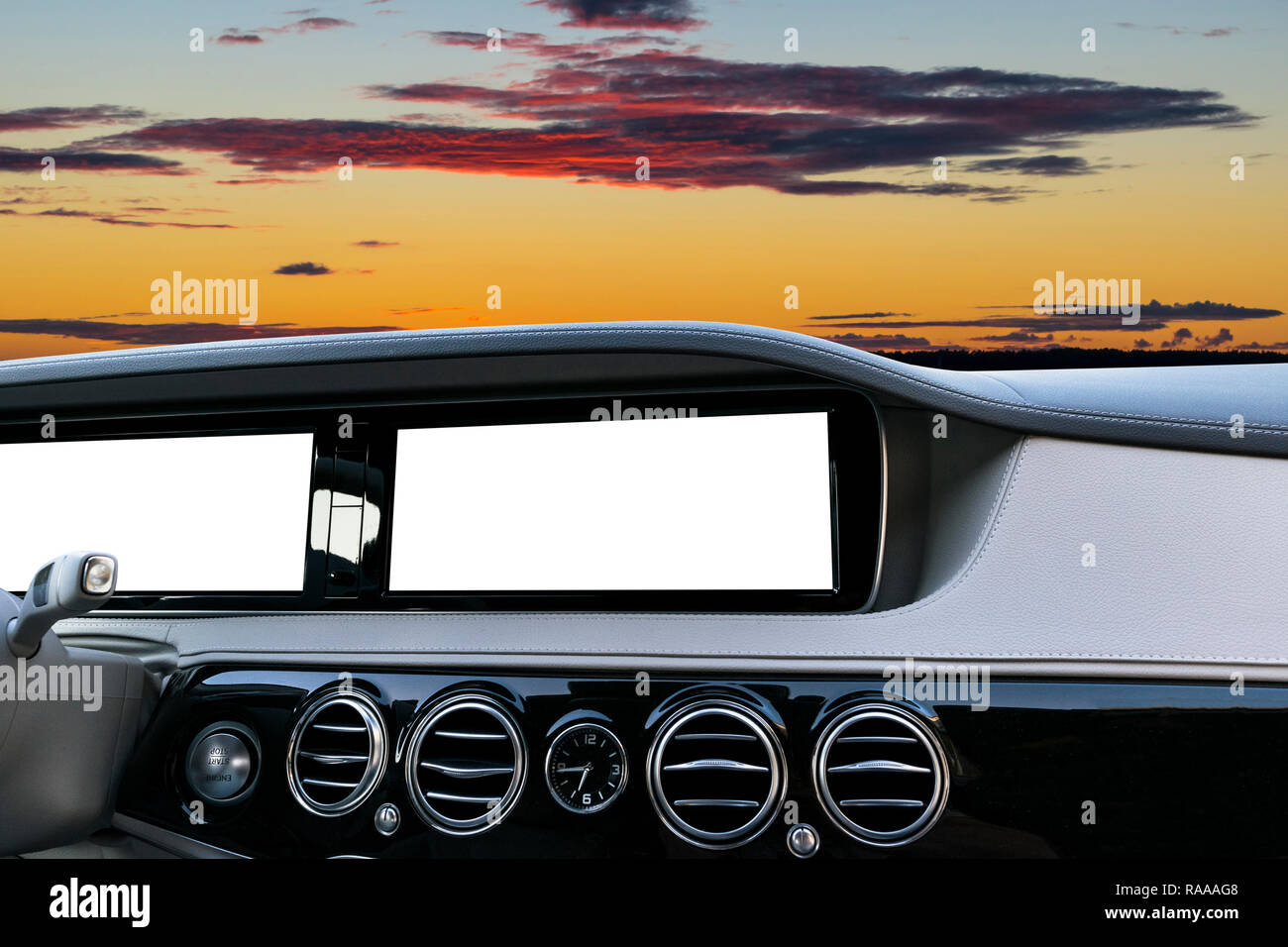 White Screen system display for GPS Navigation and Multimedia technology in car. White copy space of touch screen. Car dashboard empty space for text. - Stock Image