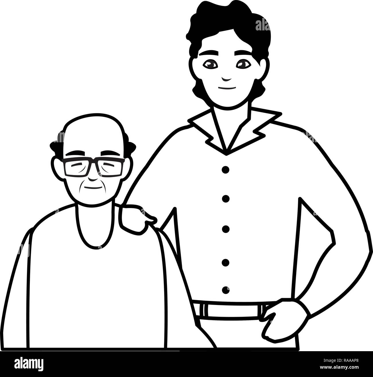father with son characters vector illustration design - Stock Image