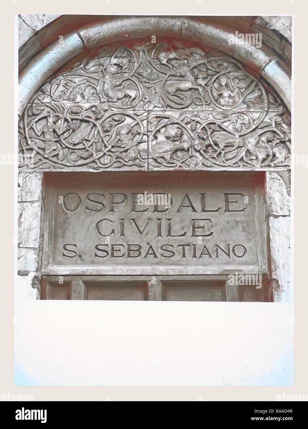 Lazio Viterbo Capranica portale romanico, this is my Italy, the italian country of visual history, Medieval reimagined - Stock Image