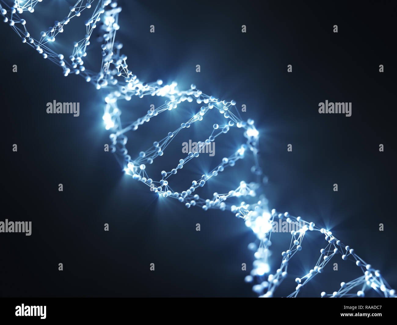 Deoxyribonucleic acid (DNA), molecule that carries the genetic code. 3D illustration, science concept image. - Stock Image