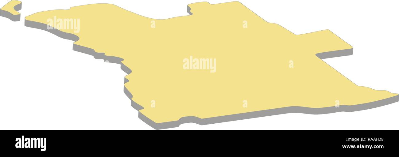 3d map of Angola. Silhouette of Angola map vector illustration - Stock Vector