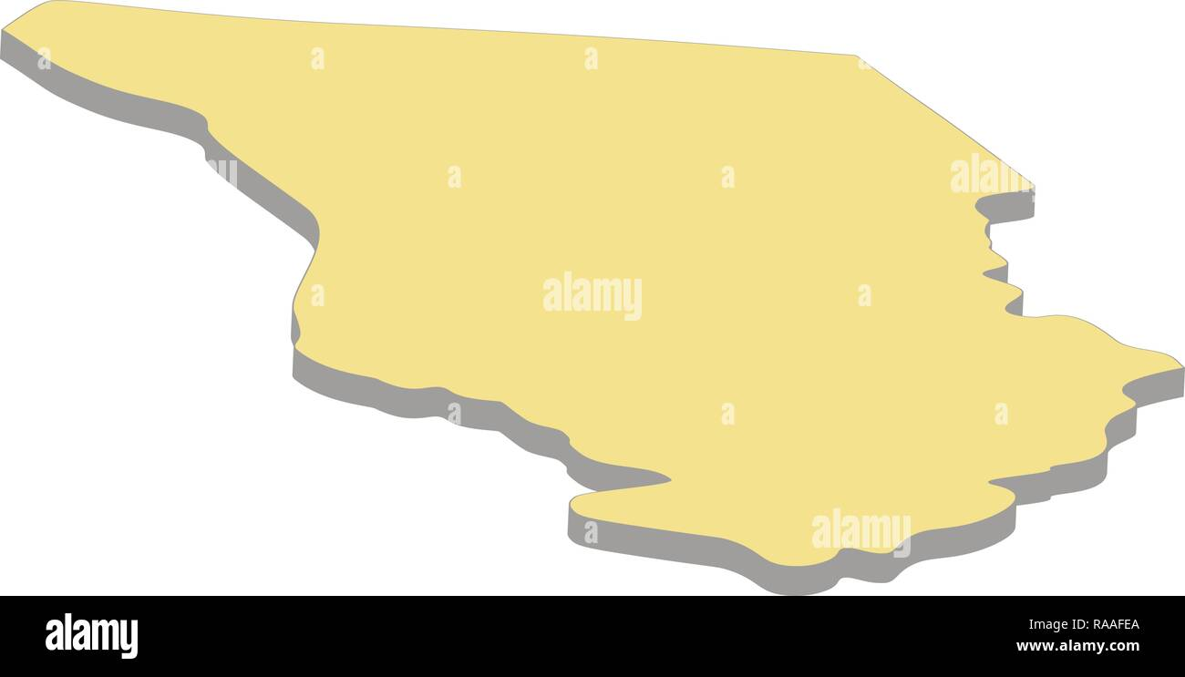 3d map of Chad. Silhouette of map of Chad vector ...