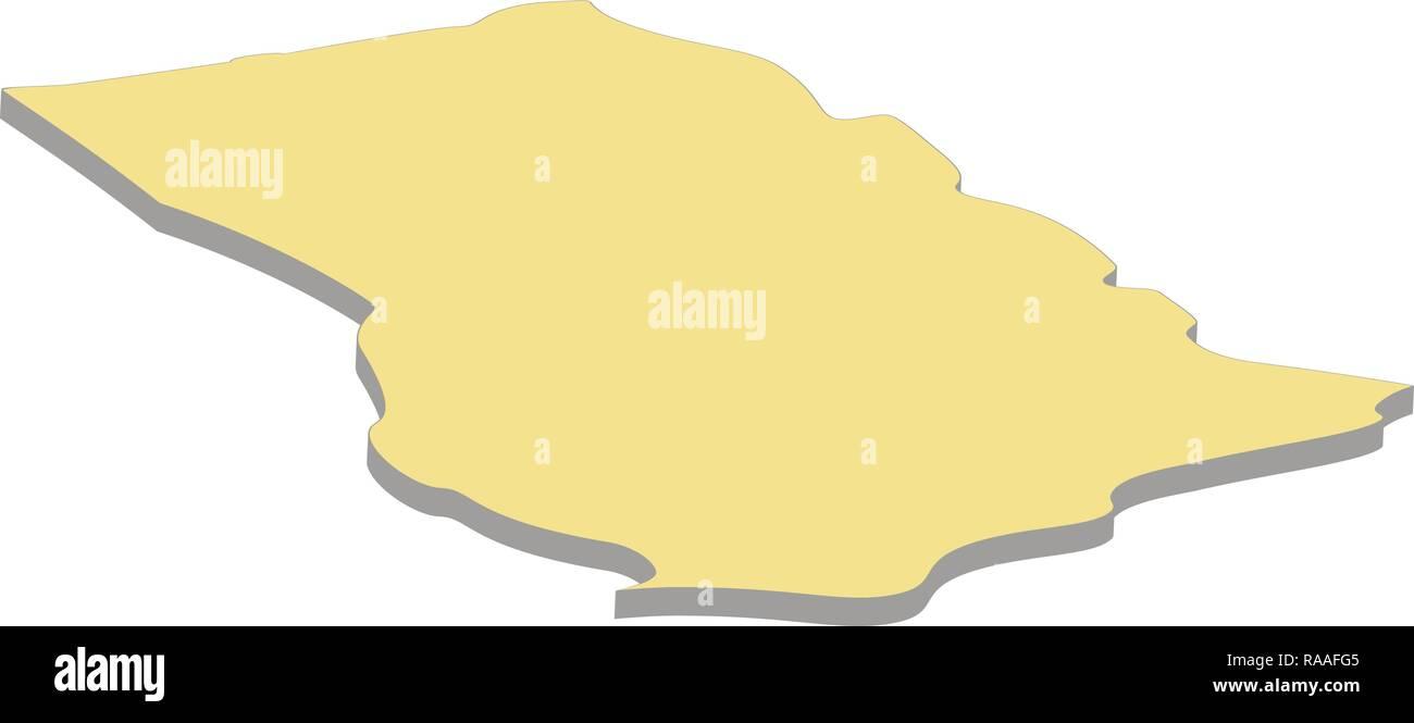 3d map of Ghana. Silhouette of Ghana map vector illustration - Stock Vector