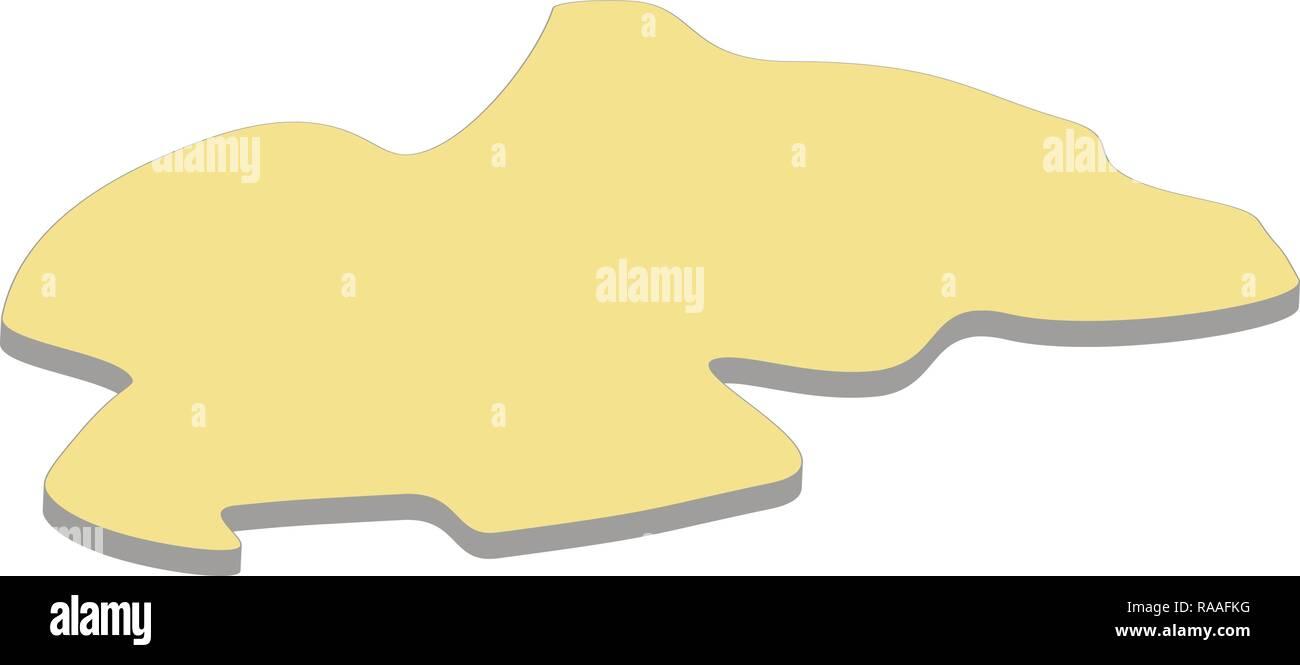 3d map of Rwanda. Silhouette of Rwanda map vector illustration - Stock Vector