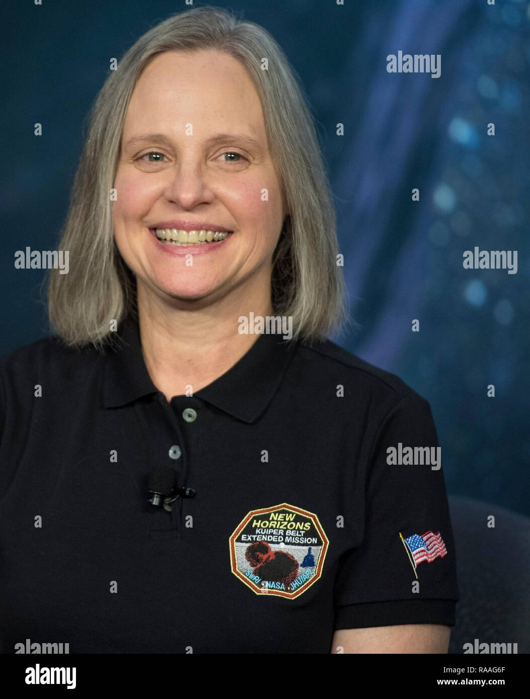New Horizons Mission Operations Manager Alice Bowman of the Johns Hopkins University Applied Physics Laboratory  during a press conference following the successful flyby of Ultima Thule by the New Horizon spacecraft at Johns Hopkins University Applied Physics Laboratory January 1, 2019 in Laurel, Maryland. The flyby by the space probe occurred 6.5bn km (4bn miles) away, making it the most distant ever exploration of an object in our Solar System. - Stock Image