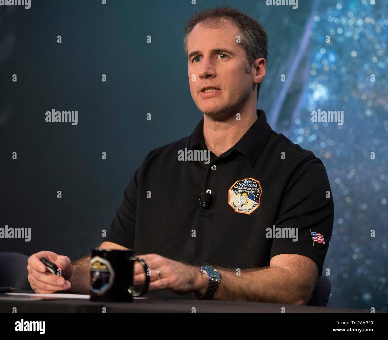 Fred Pelletier, lead of the project navigation team at KinetX, speaks during the press conference prior to the expected flyby of Ultima Thule by the New Horizon spacecraft at Johns Hopkins University Applied Physics Laboratory December 31, 2018 in Laurel, Maryland. The flyby by the space probe occurred 6.5bn km (4bn miles) away, making it the most distant ever exploration of an object in our Solar System. - Stock Image