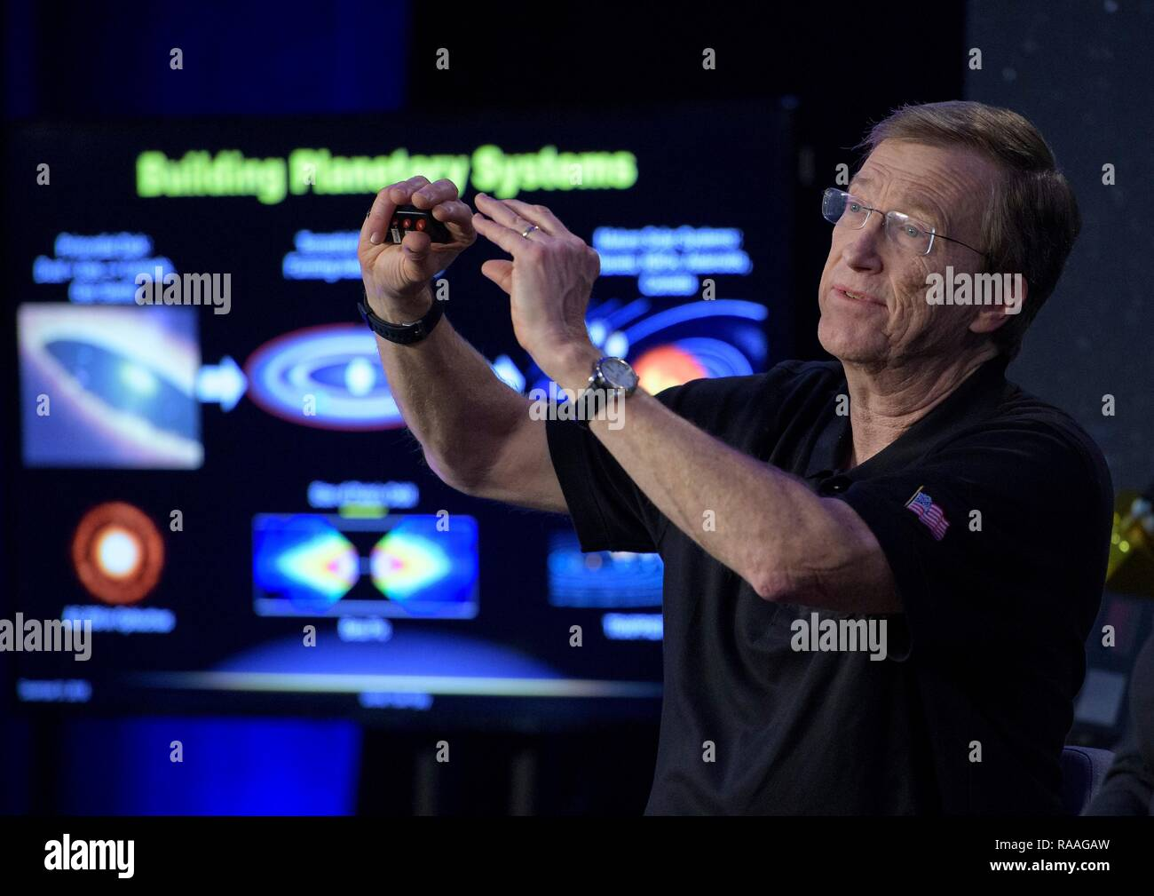New Horizons project scientist Hal Weaver of the Johns Hopkins University Applied Physics Laboratory during a briefing prior to the expected flyby of Ultima Thule by the New Horizon spacecraft at Johns Hopkins University Applied Physics Laboratory December 31, 2018 in Laurel, Maryland. The flyby by the space probe occurred 6.5bn km (4bn miles) away, making it the most distant ever exploration of an object in our Solar System. - Stock Image