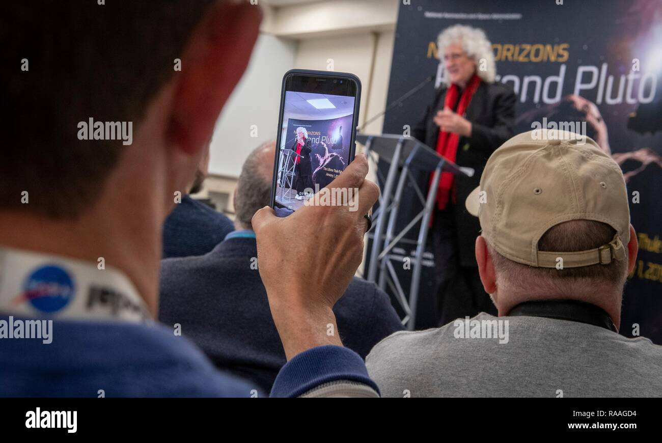 Brian May, lead guitarist of the rock band Queen and astrophysicist during a briefing prior to the expected flyby of Ultima Thule by the New Horizon spacecraft at Johns Hopkins University Applied Physics Laboratory December 31, 2018 in Laurel, Maryland. The flyby by the space probe occurred 6.5bn km (4bn miles) away, making it the most distant ever exploration of an object in our Solar System. Stock Photo