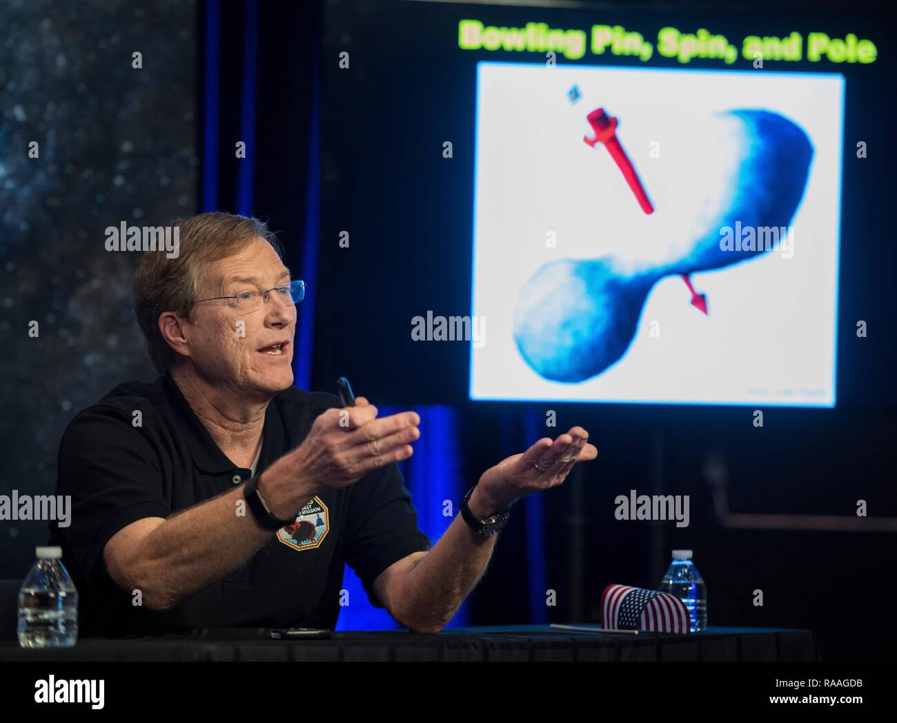 New Horizons project scientist Hal Weaver of the Johns Hopkins University Applied Physics Laboratory during a press conference following the successful flyby of Ultima Thule by the New Horizon spacecraft at Johns Hopkins University Applied Physics Laboratory January 1, 2019 in Laurel, Maryland. The flyby by the space probe occurred 6.5bn km (4bn miles) away, making it the most distant ever exploration of an object in our Solar System. - Stock Image
