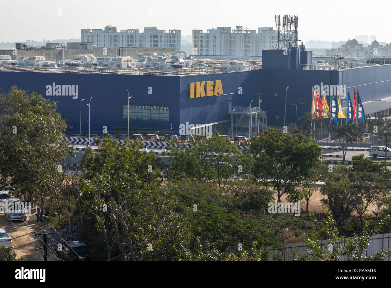 HYDERABAD, INDIA - January 02,2018. High angle view of Ikea,India.Swedish furniture giant IKEA opened it's first store in India on August 09,2018 in t - Stock Image