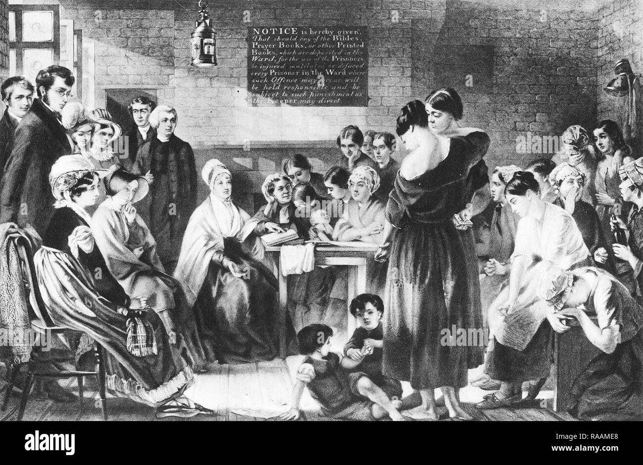 Prison reformer, Elizabeth Fry greatly improved the conditions for women held in England's notorious Newgate Prison. - Stock Image
