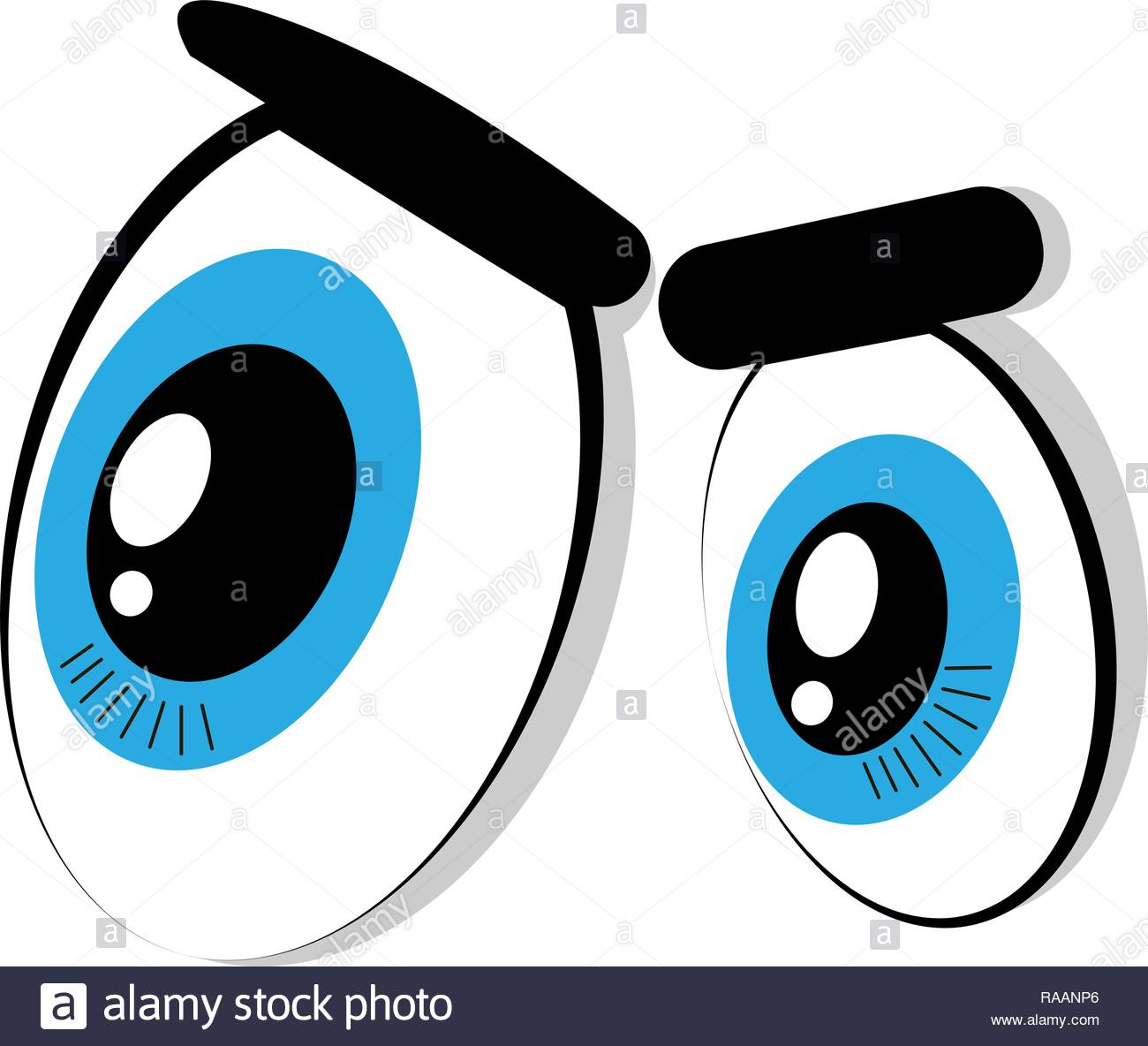 Vector Cartoon Illustration Of Big Eyes Lovely Male Eyes With
