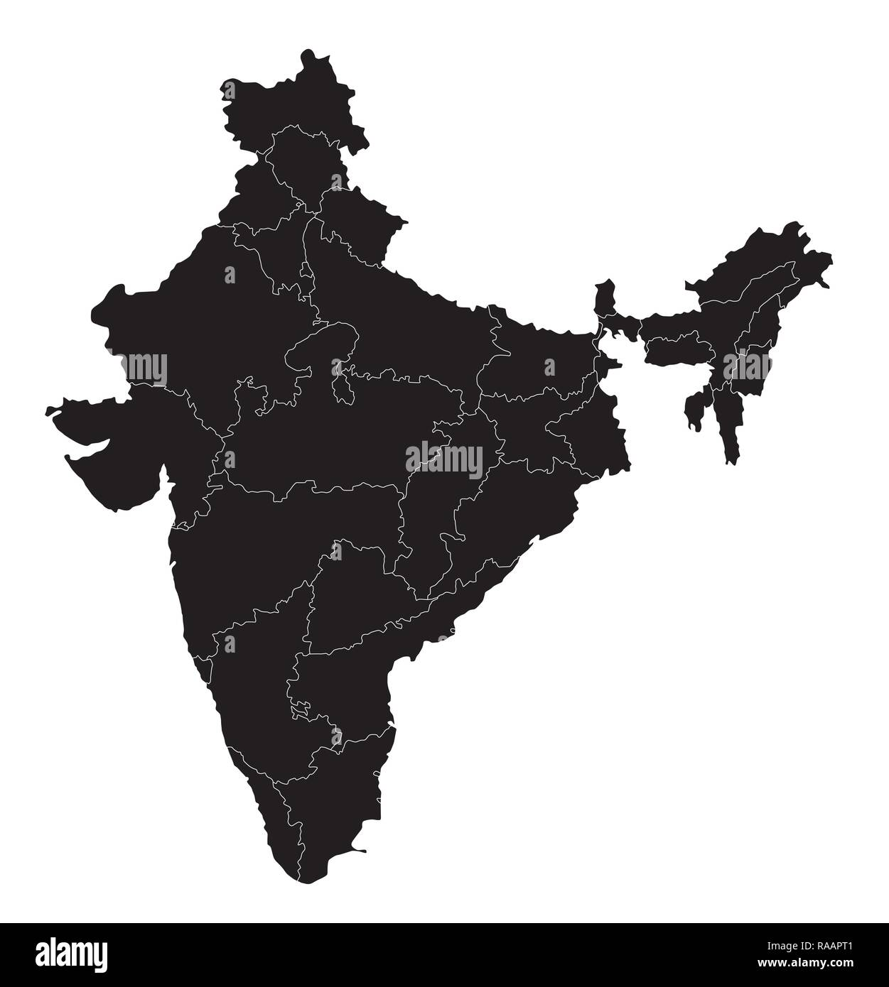 India black administrative vector map on white background - Stock Image