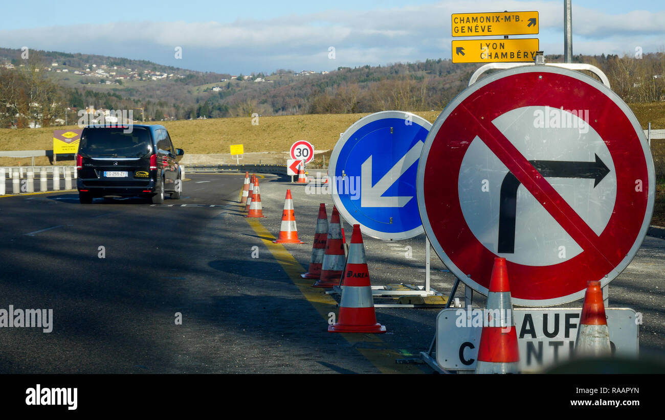Road signs, A43 Highway, Haute-Savoie, France - Stock Image
