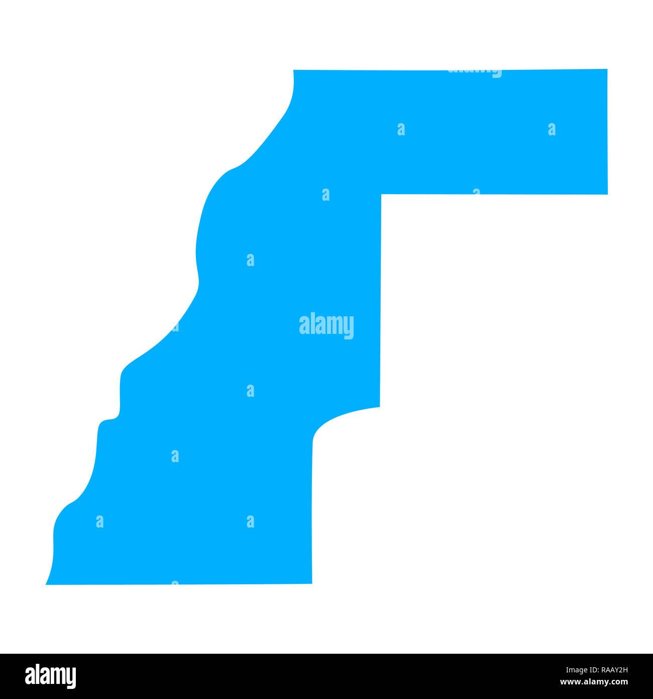 map of Western Sahara. Silhouette of map of Western Sahara  illustration - Stock Image