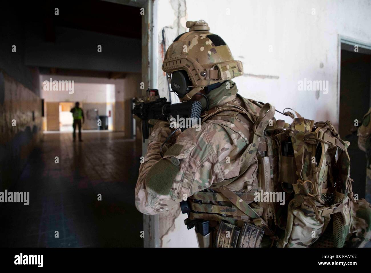 A Lithuanian Special Operations Forces member provides security Nov