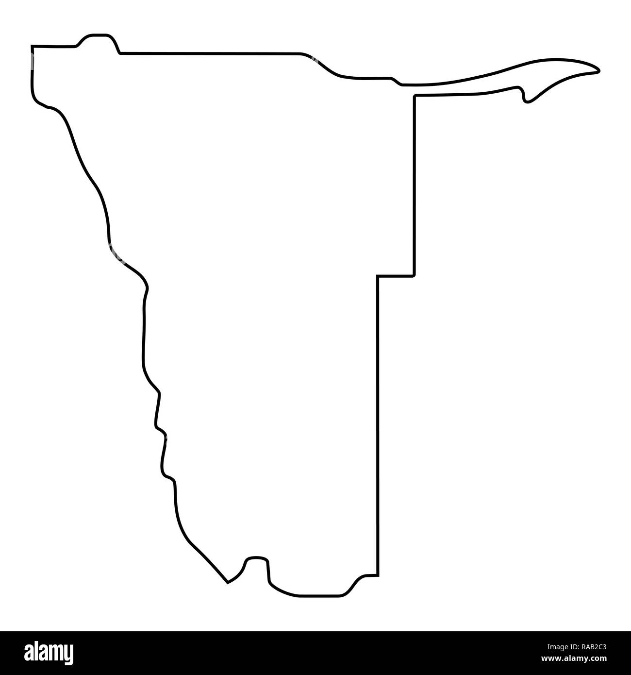 map of Namibia - outline. Silhouette of Namibia map  illustration - Stock Image