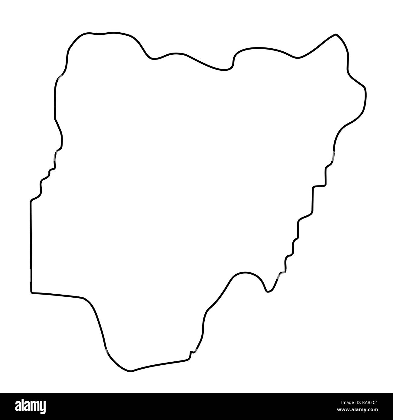 map of Nigeria - outline. Silhouette of Nigeria map  illustration - Stock Image