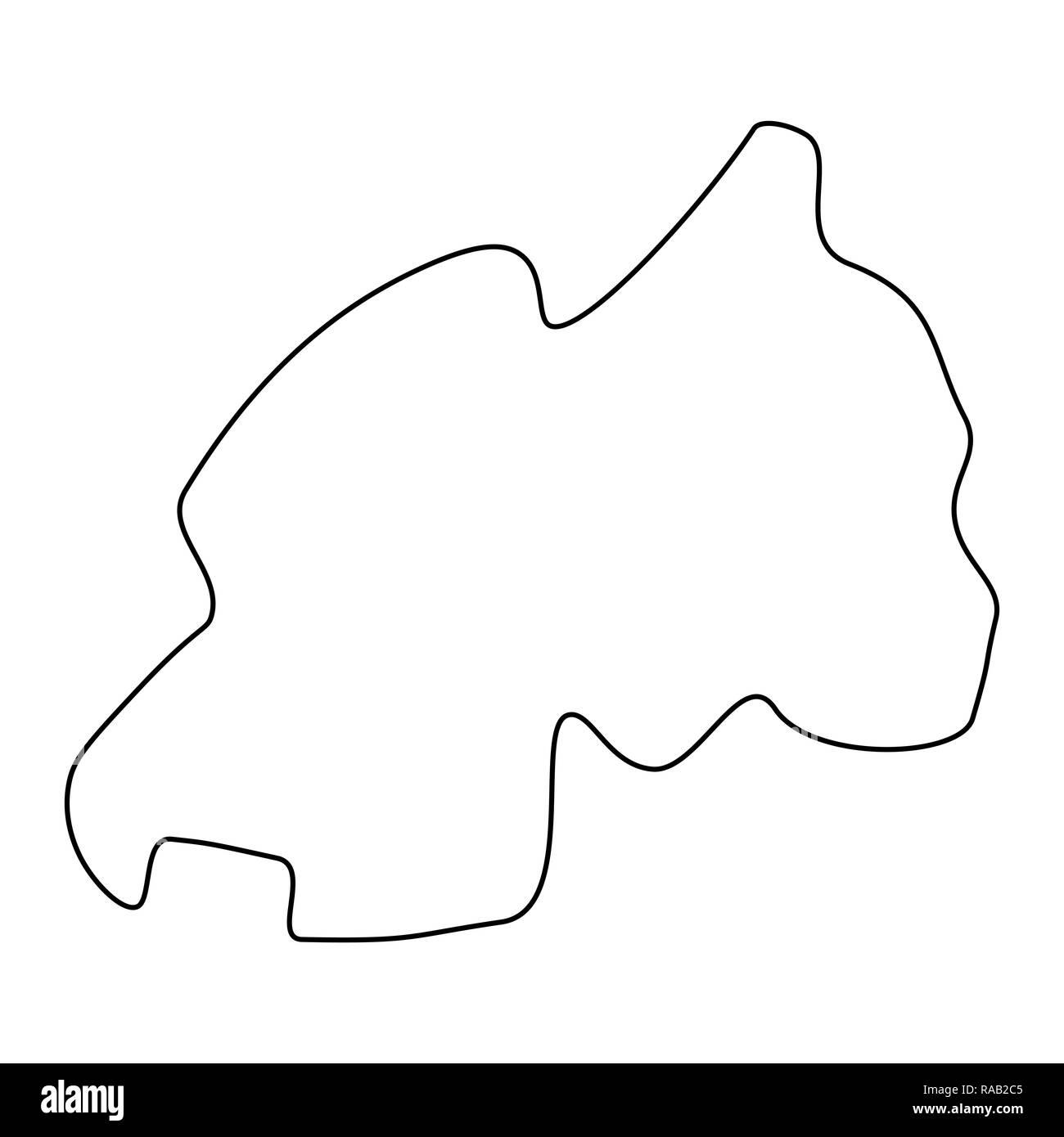 map of Rwanda - outline. Silhouette of Rwanda map  illustration - Stock Image