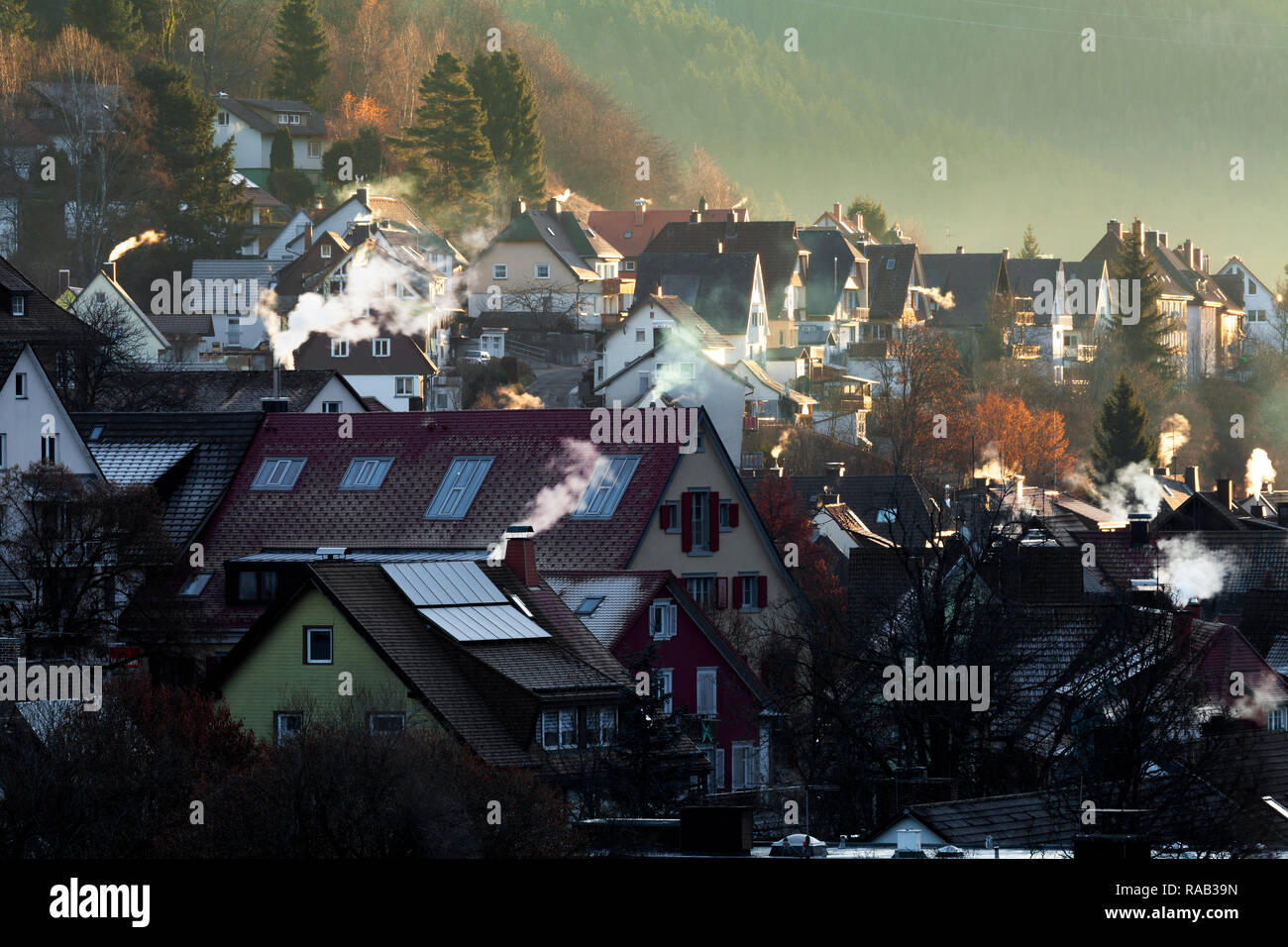 View to  Titisee-Neustadt in a cold mornig - Stock Image