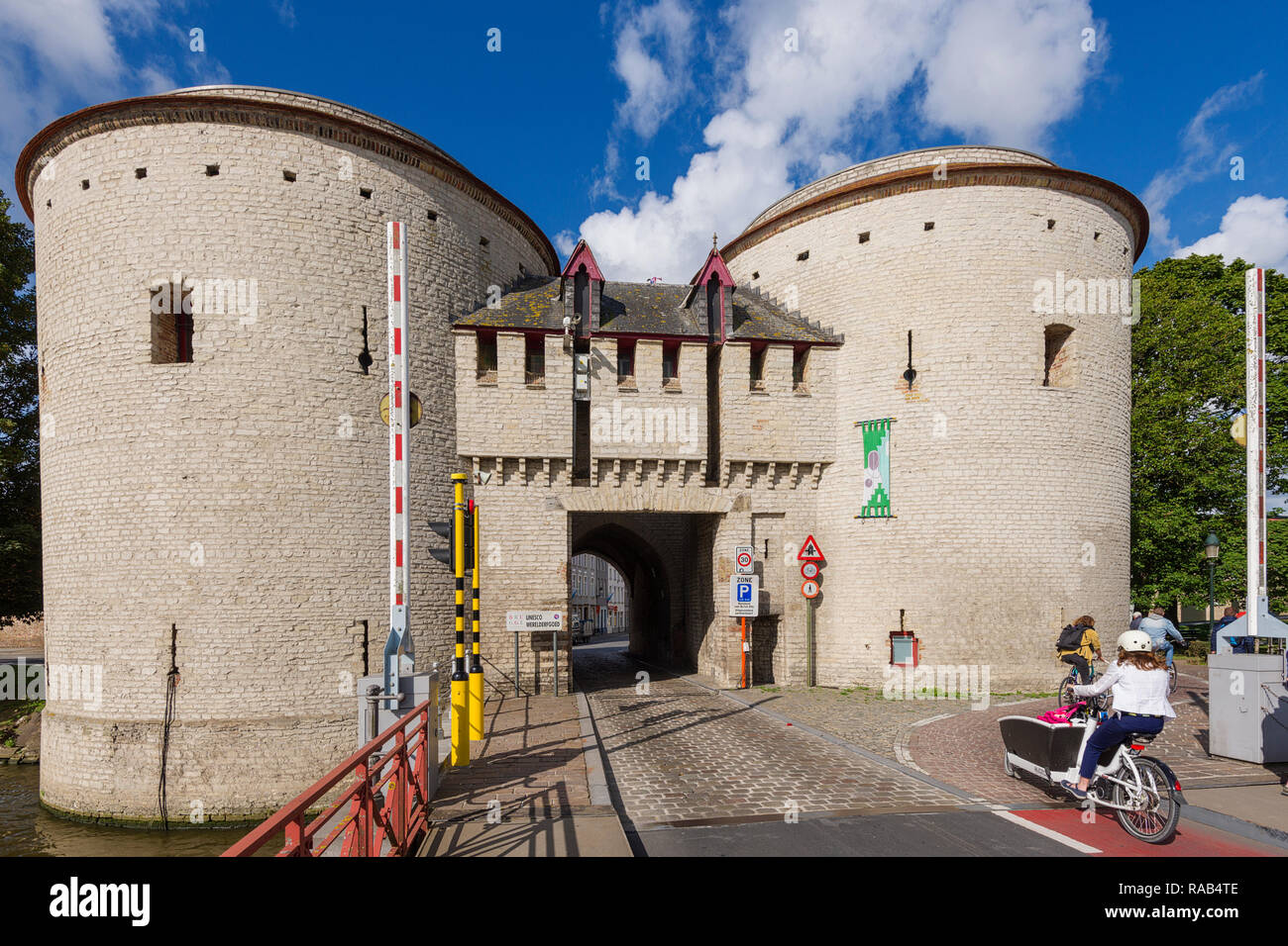the Ghent Gate (Gentpoort) was once used to filter access to the city of Bruges, Belgium Stock Photo