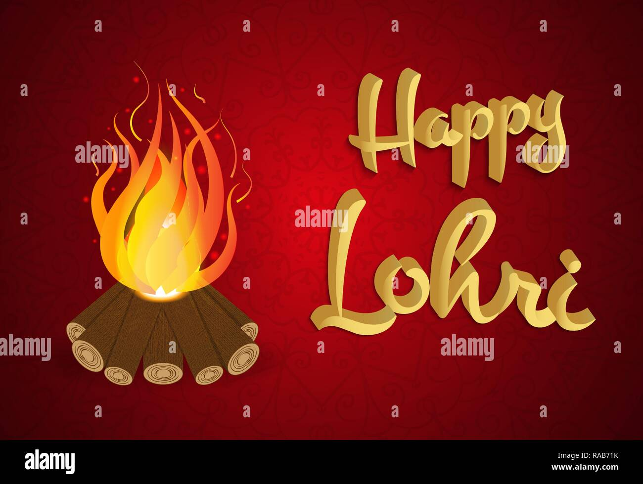 Happy Lohri background with bonfire, holiday vector illustration on red background - Stock Vector