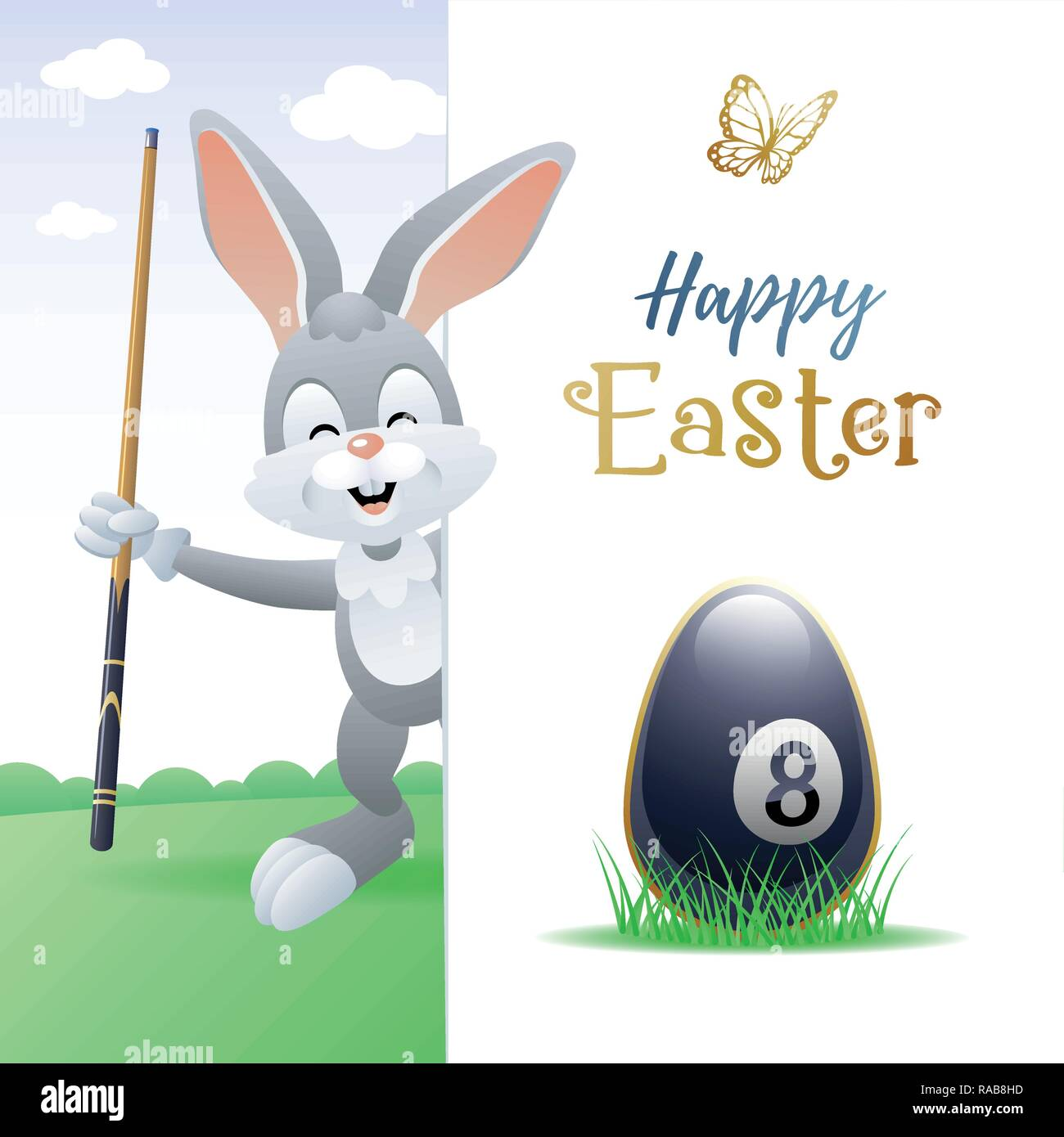 Happy Easter. Sports greeting card. Cute Rabbit with Billiard Egg and cue. Vector illustration. - Stock Image