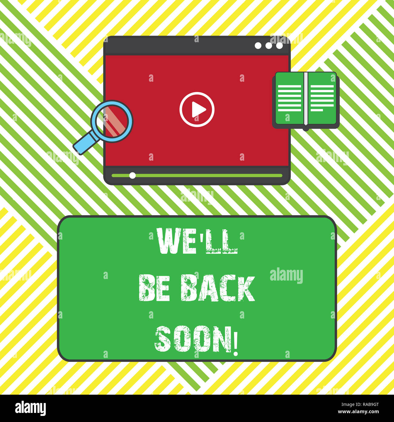 Text Sign Showing We Ll Be Back Soon Conceptual Photo Taking A Short Break Out Of Work Coming Back In A Few Tablet Video Player Uploading Downloading Stock Photo Alamy