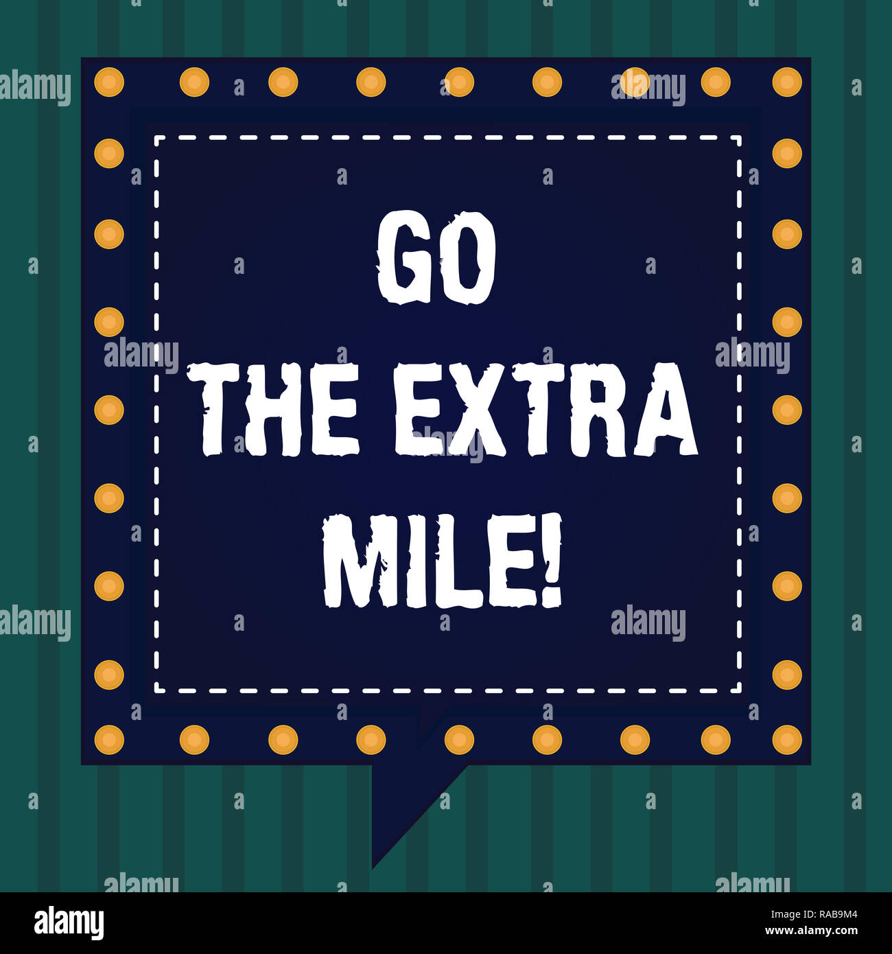 Handwriting text Go The Extra Mile. Concept meaning Give an additional do more than is expected from you Square Speech Bubbles Inside Another with Bro - Stock Image