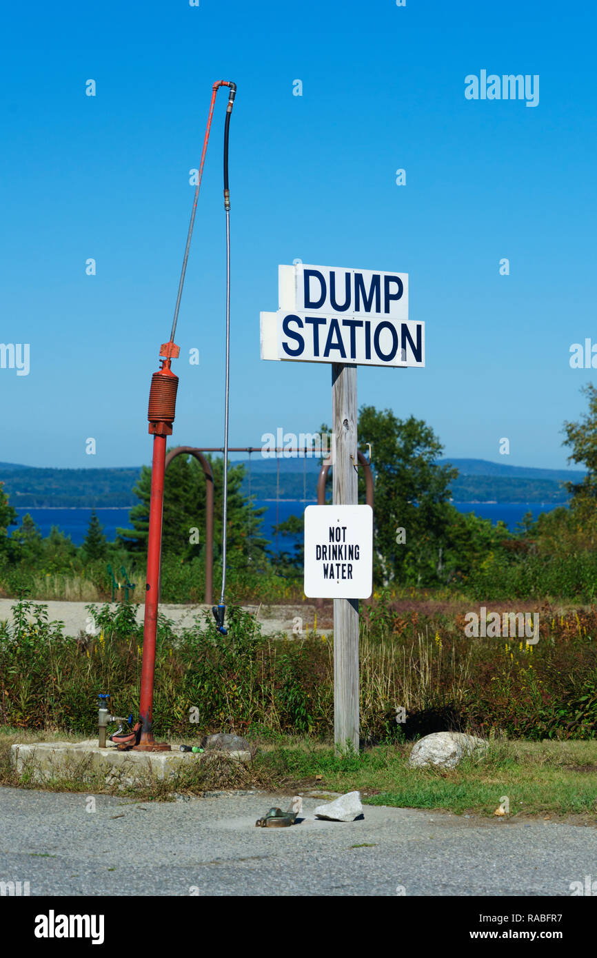Dumping station for caravans in a campground. - Stock Image