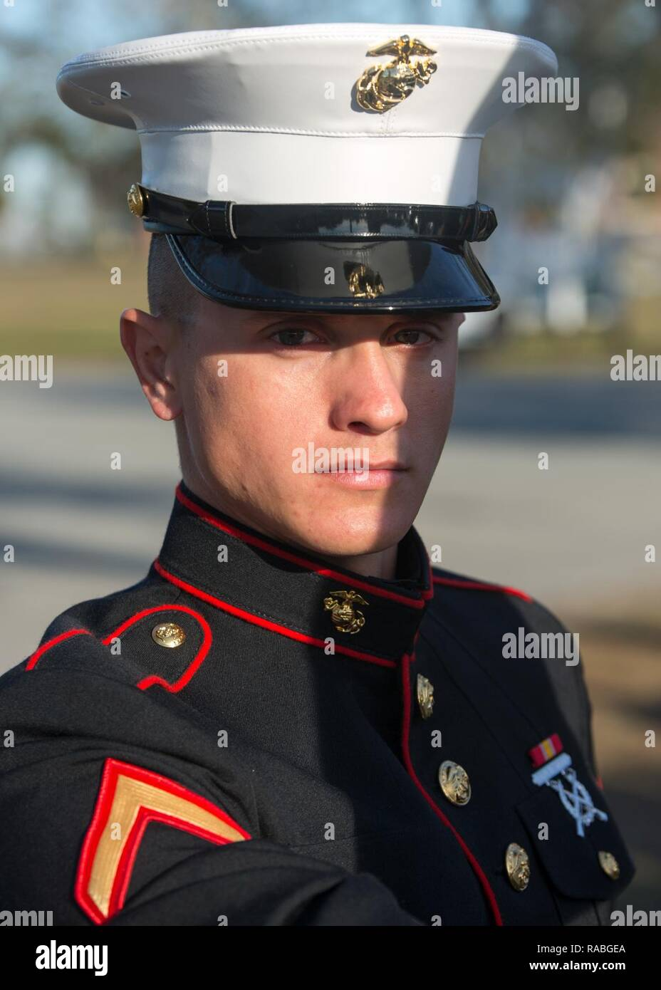 Pfc. Dustin T. Jordan, honor graduate for Platoon 1000, Charlie Company, 1st Recruit Training Battalion, graduated boot camp Jan. 27, 2017. Jordan is from Manchester, Ga. - Stock Image