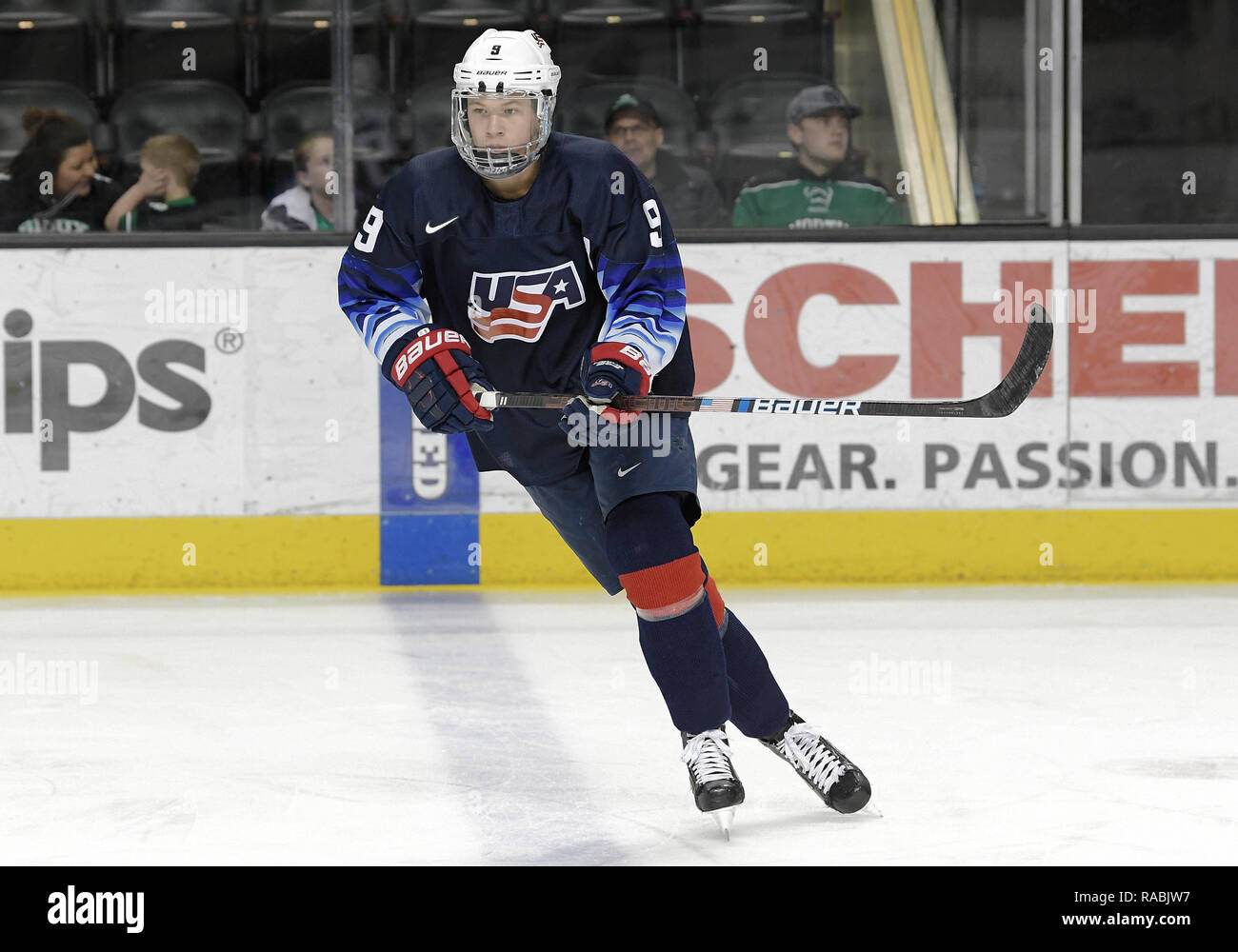 December 29, 2018 US National Under 18 team forward Matthew Boldy (9) takes part in a pre-game skate before an exhibition hockey game against the University of North Dakota Fighting Hawks at Ralph Engelstad Arena in Grand Forks, ND. Photo by Russell Hons/CSM Stock Photo