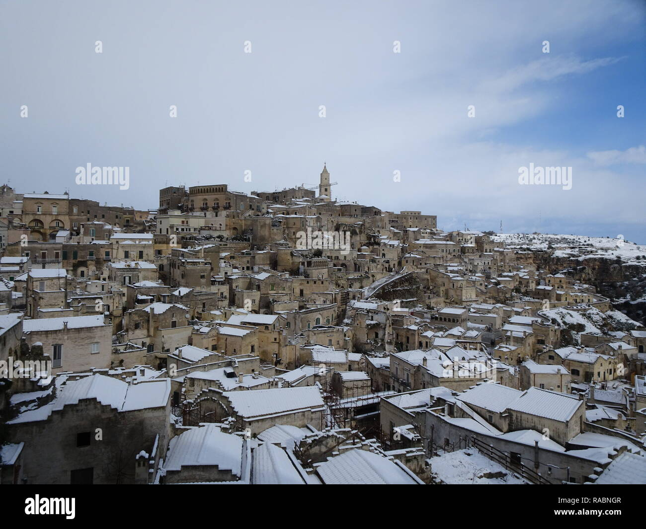 Snow The Sassi Di Matera Stock Photos Snow The Sassi Di