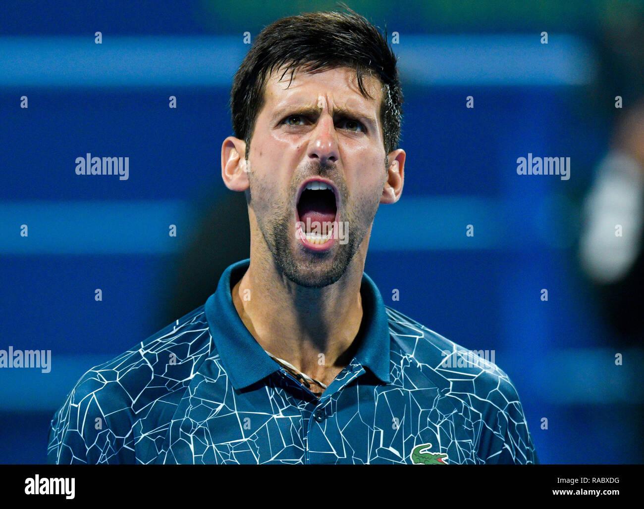 Doha, Qatar. 3rd Jan, 2019. Novak Djokovic of Serbia celebrates after the singles quarterfinal match against Nikoloz Basilashvili of Georgia at the ATP Qatar Open tennis tournament in Doha, capital of Qatar, Jan. 3, 2019. Credit: Nikku/Xinhua/Alamy Live News - Stock Image