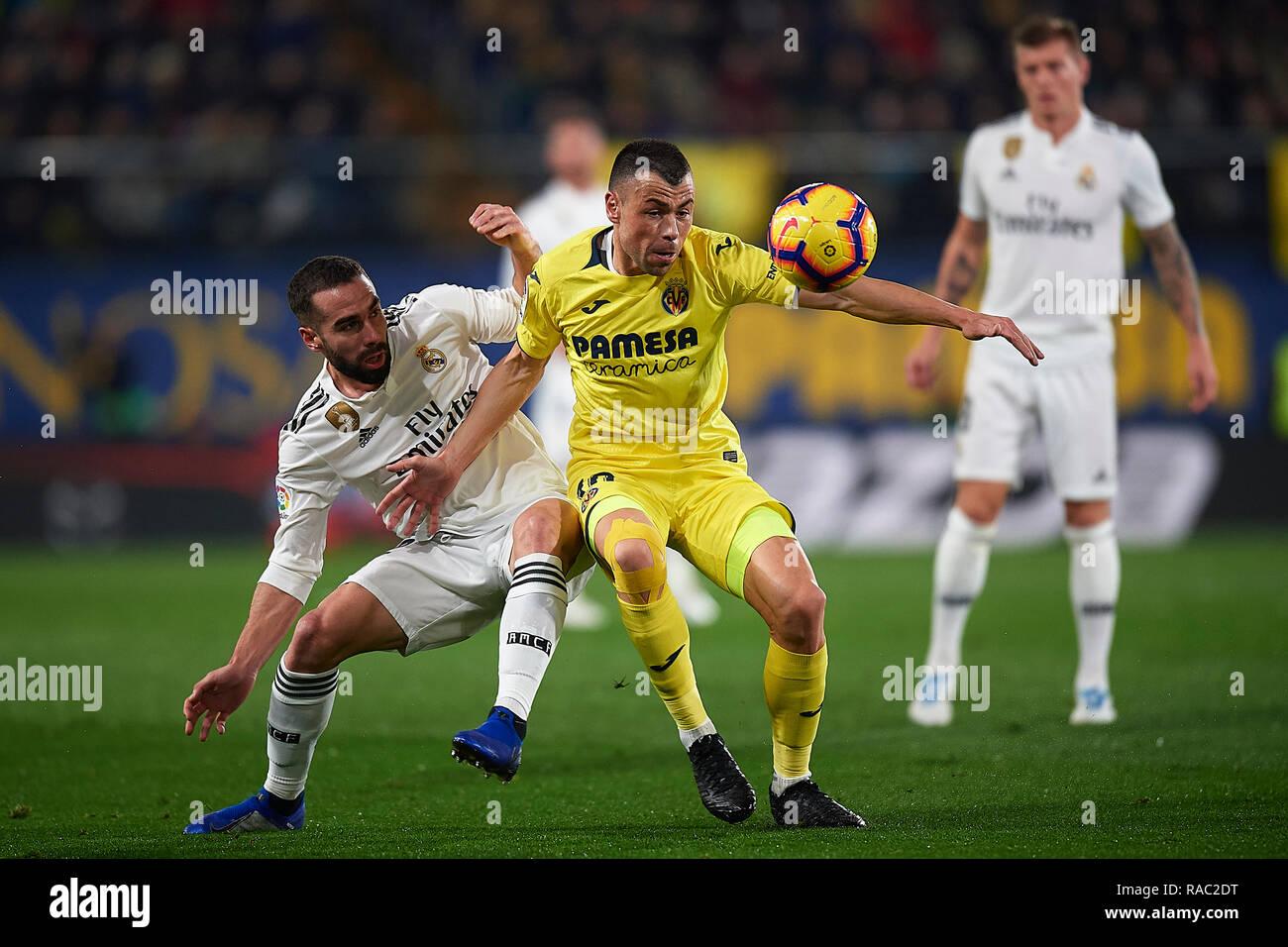VILLARREAL LaLiga Date Villarreal Real Madrid Javi Fuego Of Villarreal CF And Daniel Carvajal Of Real Madrid During The Game Villarreal Real Madrid Stock Photo Alamy