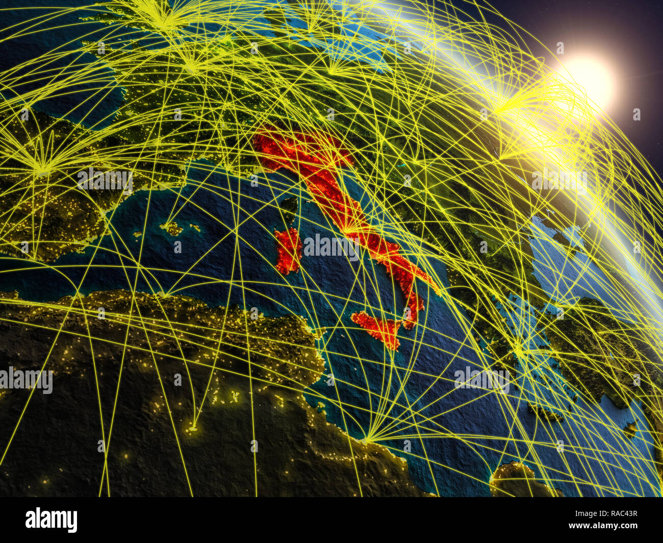 4ea0f234c8 Italy from space on realistic model of planet Earth with network. Concept  of digital technology