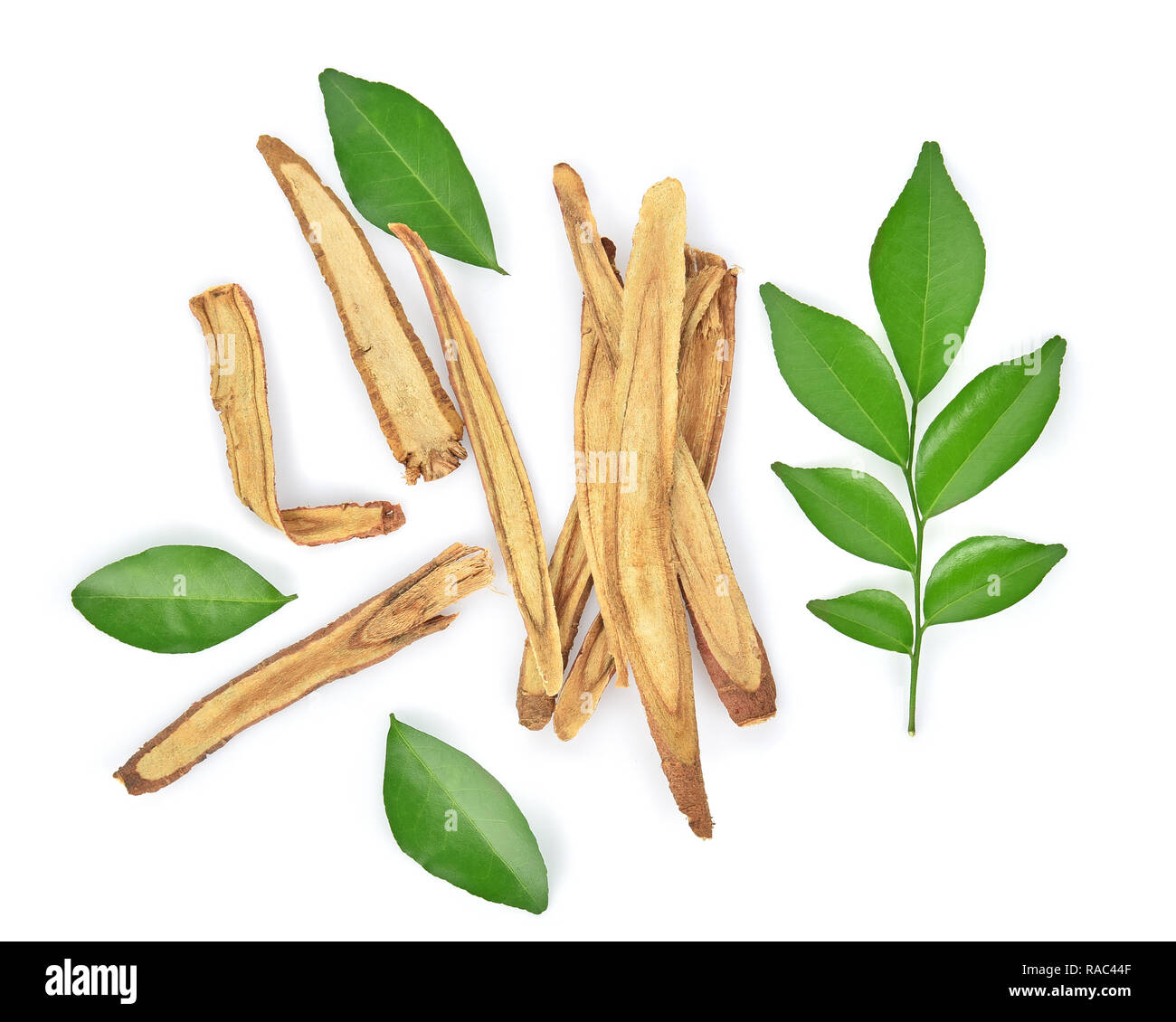 Top view of Slice Licorice roots on white background - Stock Image