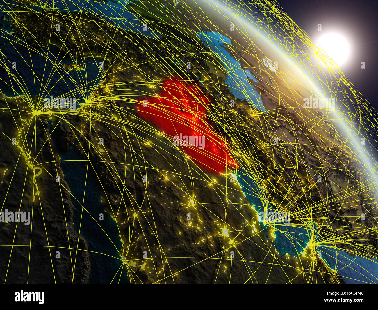 8fb602e4a2 Iraq from space on realistic model of planet Earth with network. Concept of  digital technology
