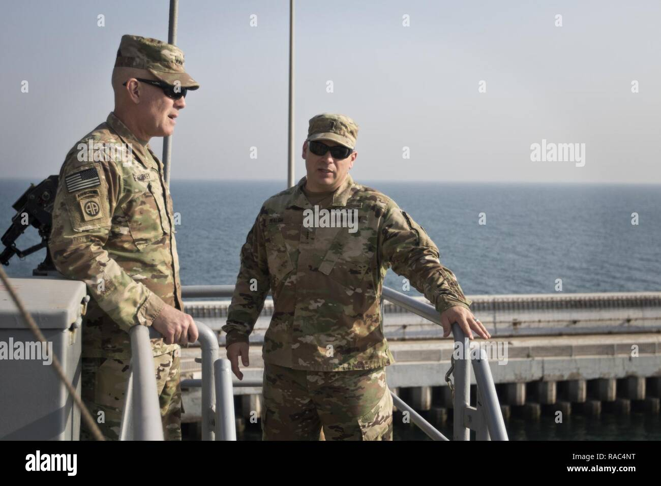 """U.S. Army Reserve Commanding General Lt. Gen. Charles D. Luckey tours the LSV-5 """"MG Charles P. Gross"""" during a tour of the Kuwait Naval Base and its capabilities in Kuwait, Jan. 10, 2017. - Stock Image"""