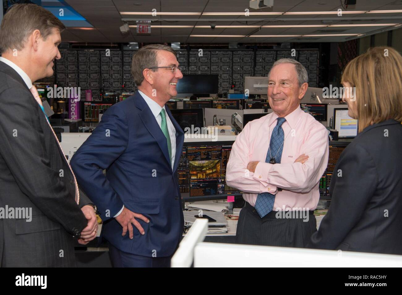 Secretary of Defense Ash Carter speaks with Mike Bloomberg, the founder and CEO of Bloomberg L.P., at the Bloomberg Television headquarters building in New York City on Jan. 12, 2017. - Stock Image