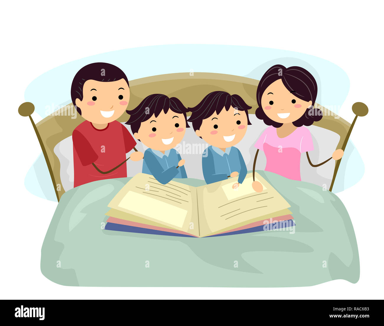 illustration of stickman family with twin kid boys