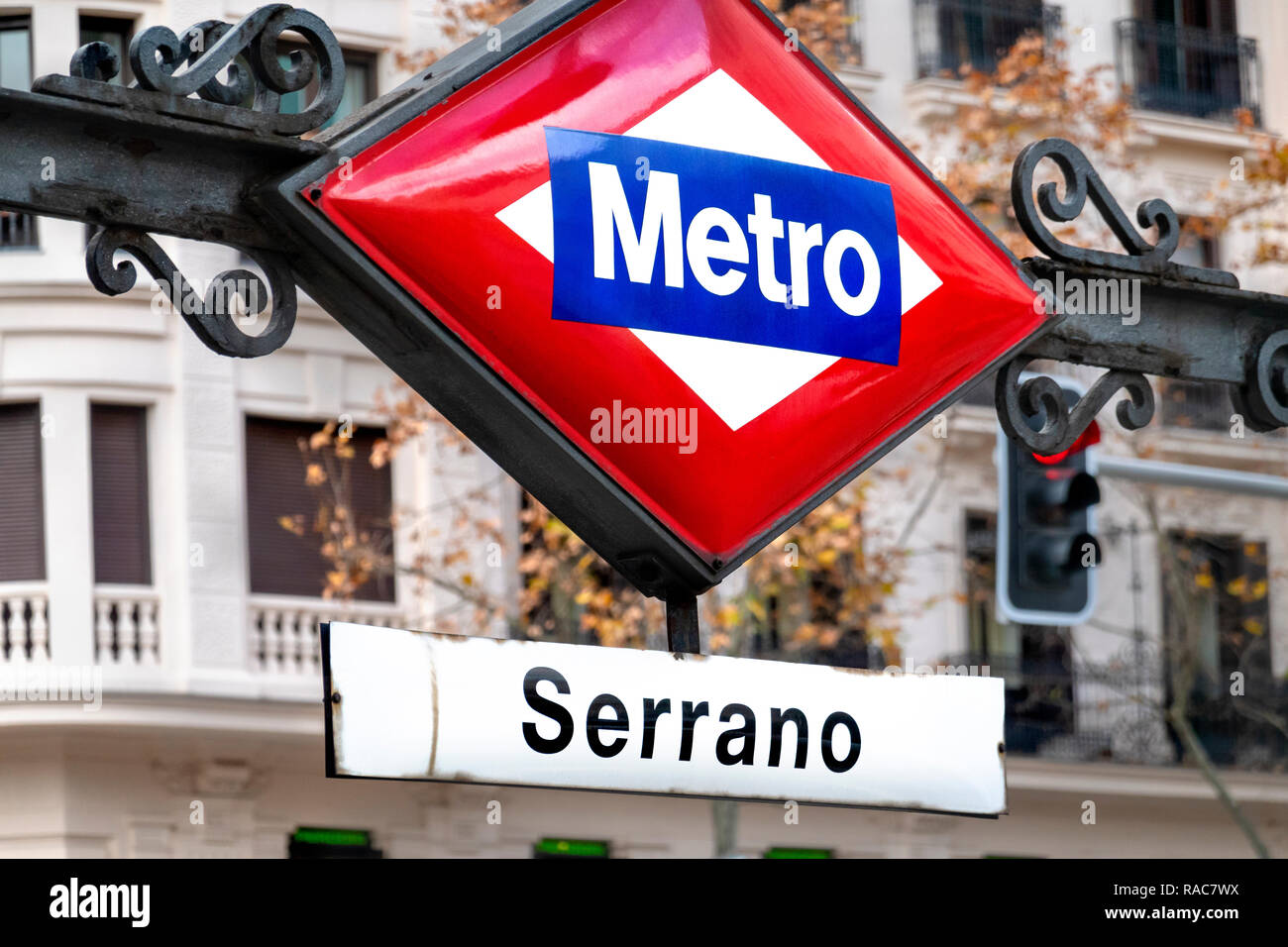 Madrid Calle de Serrano Metro station sign - Stock Image