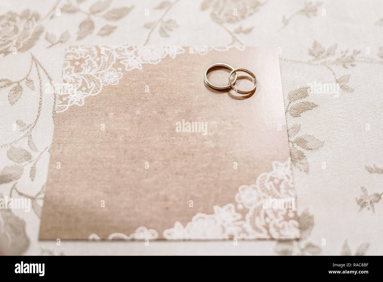 Wedding Invitation Card With Rings Empty With Space To Fill With