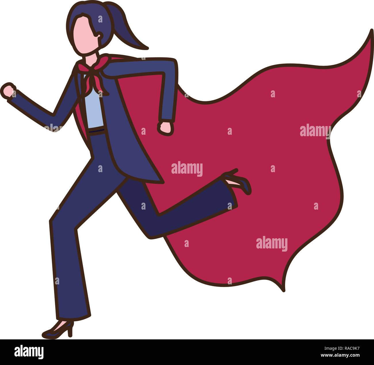 businesswoman with hero cape avatar character - Stock Image