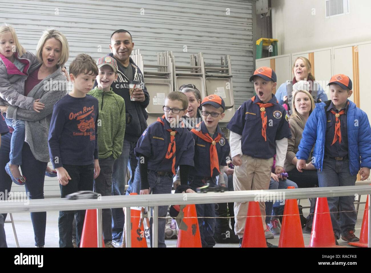 Race Cars Finish Line Stock Photos Pinewood Derby Lamps Children With Cub Scout Pack 78 Cheer As Their Pass The During