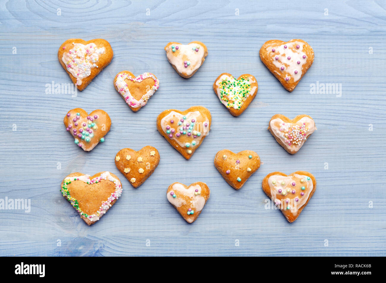 Gingerbread cookies on blue wooden background Stock Photo