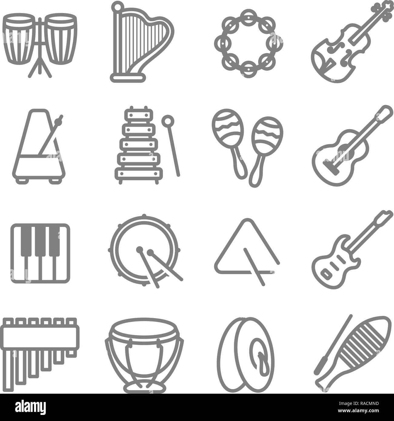 Music Instrument Vector Line Icon Set. Contains such Icons as Drum, Triangle, Guitar, Keyboard, Metronome, Tambourine and more. - Stock Image